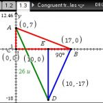 Using Geometry page on TI Nspire to solve congruent triangles problem.